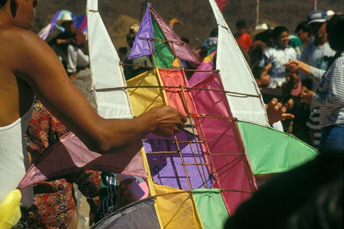Close-up of a festival kite's construction, Alamos, Sonora, Mexico. Photo by Anders Tomlinson.