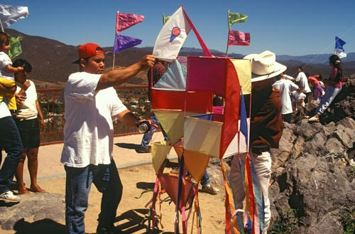 Kite being presented to a judge for judging, Alamos, Sonora, Mexico.  Photo by Anders Tomlinson.