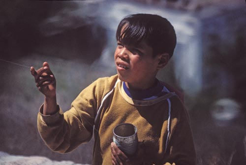 A young boy flying his kite at the Alamos Kite Flying contest, Alamos, Sonora, Mexico.  Photo by Anders Tomlinson.