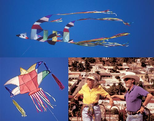 Detrails of competing kites flying in the Alamos kite Festival with Earle and Joan Winderman watching, Alamos, Sonora, Mexico. photos by Anders Tomlinson.