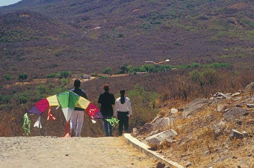 Kids walking home from the Kite Festival, Alamos, Sonora, Mexico.   Photo by Anders Tomlinson.