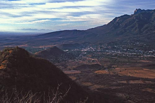 alamos, sonora, mexico seen from the north, mirador and plaza de las armas are clearly seen, photo by anders tomlinson . 1995.