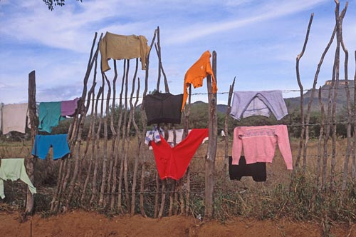 clothes drying on fence post next to Alamos airpot.  Alamos, Sonora, mexico.  Photo by Anders Tomlinson