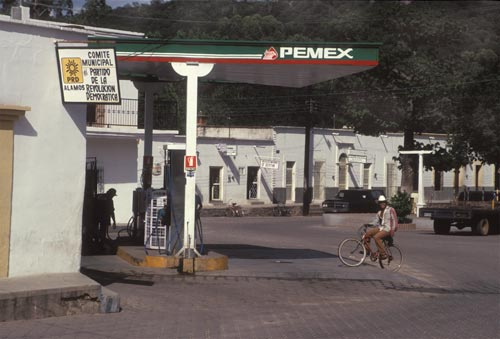 pemex gas station in the alemeda, alamos, sonora, mexico 1995.  photo by anders tomlinson.