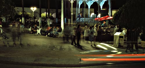 gatherings acroos the plaza at night, alamos, sonora, mexico.  photo by anders tomlinson.