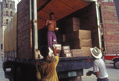 aide truck being loaded up on calle comerico, alamos sonora mexico. photo by anders tomlinson, 1995