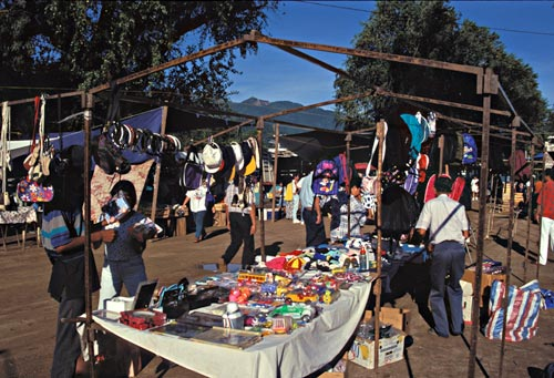 Los tianguis, open air market held on sunday mornings in Arroyo La Aduana.  Alamos, Sonora, Mexico.  photo by Anders Tomlinson.