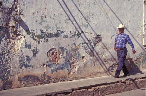 man walking in centro alamos, sonora, mexico.  photo by anders tomlinson.