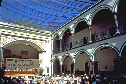 president addresses public in the palacio, alamos, sonora, mexico.  photo by anders tomlinson.