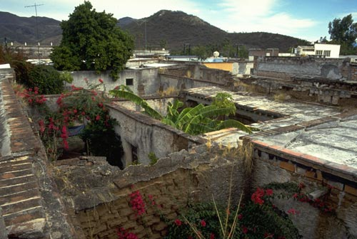 collapsed roofs and patios in centro alamos, sonora, mexico.  december 1993.  photo by gary ruble