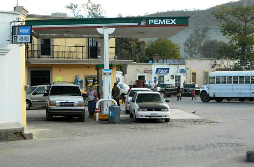 The traditional gas station is on the western edge of the busy Alameda, Alamos, sonora, Mexico. Photo by Humberto Enríquez