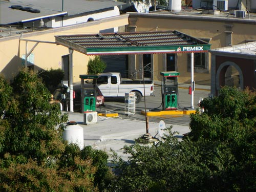 The Salido gas station on the Alameda seen from Guadalupe Hill. alamos, sonora, mexico .  photo by Humberto Enríquez