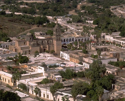 1993 Looking west from El Mirador at the church and plaza in alamos, sonora, mexico
