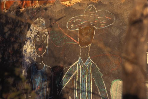 wall painting of young couple near airport. alamos sonora mexico. photo by anders tomlinson.