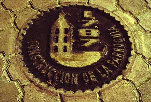 history medallion in high school walkway, alamos sonora mexico, photo by anders tomlinson.