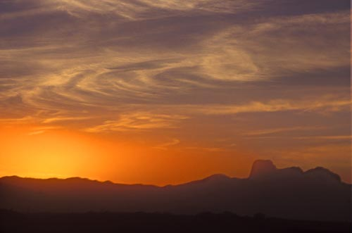 sunset and cerra cacharamba, alamos sonora mexico.  photo by anders tomlinson.