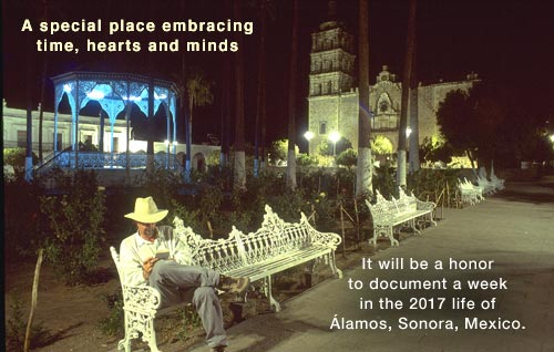 Anders Tomlinson in Álamos, Sonora, Mexico plaza, 1995. photo by Antonio Figueroa.