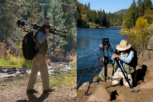 Anders Tomlinson photographing the Klamath River near the Oregon border.  2008.  Photos by Jeff Ritter