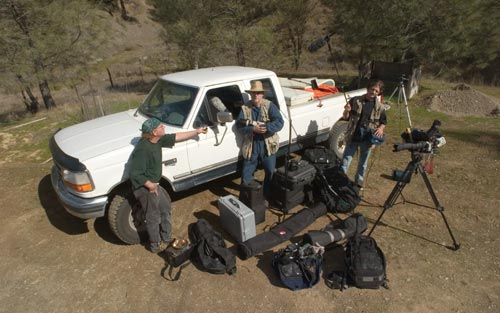 Anders Tomlinso with truck and camera-audio gear.  Along with Marc Gould and Denver Clay