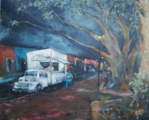 Painting by Robyn Tinus. Alameda Evening owner Pamela Price, Álamos, ßonora, México