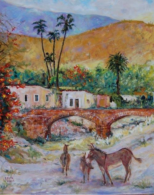 Painting by Robyn Tinus. Puente de Paulita, owner Catherine Christiansen, La Aduana, Sonora, México.