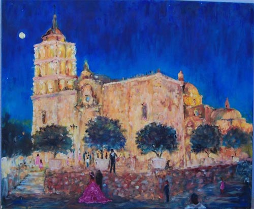 Painting by Robyn Tinus, The Quinceanera, owner John Sheedy, Alamos, Sonora, Mexico