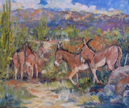 Painting by Robyn Tinus: Burros on the road to San Bernardo, owner Lorreta Childs, Alameda, Ca.