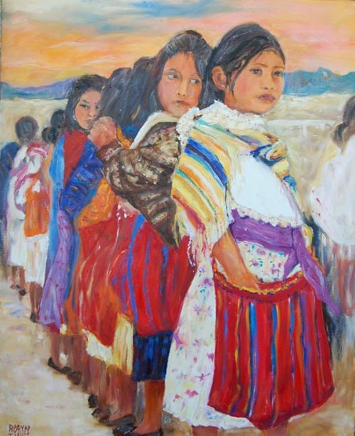 First Day of School. Painting by Robyn Tinus. Tarahumara Indian girls going to school. Álamos, Sonora, Mexico artist