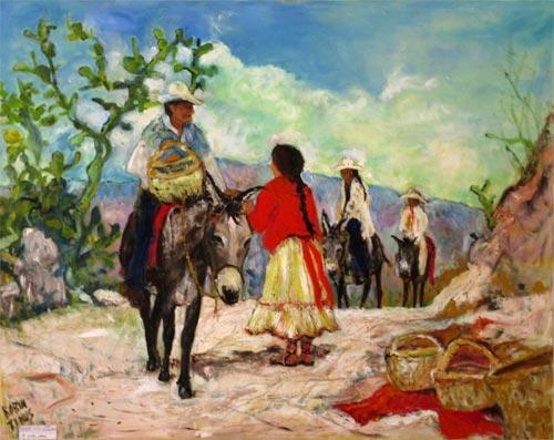 Tarahumara Trade Route. Painting by Robyn Tinus. Álamos, Sonora, Mexico artist