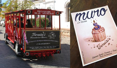 Tourist trolley in Álamos, Sonora, Mexico with Teresita's Panderia and Bistro advertising on its back. Photo by Anders Tomlinson, 2017.