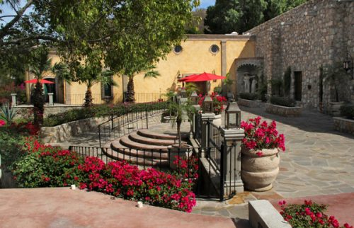 Hacienda de los Santos, Álamos, Sonora, México - February 26, 2017 photo by Anders Tomlinson. courtyard with museum and theater