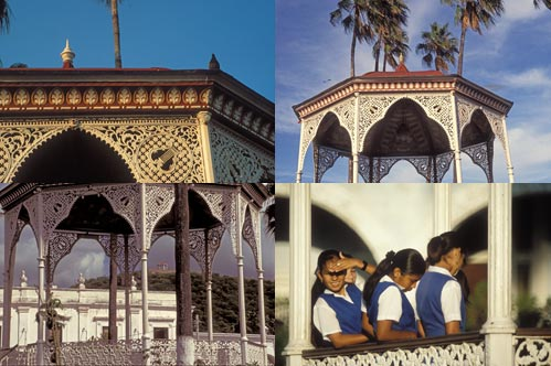 The Kiosk-Bandstand in Plaza de las Armas, Álamos, Sonora, México from Guadalupe hill in the Summer of 1996.  Photo by Anders Tomlinson.